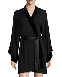 Jonquil Nadia Jersey Short Wrap Robe Black