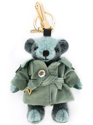 Burberry Trenchcoat Bear Keyring Women Cotton Calf Leather Nylon Cashmere One Size Green