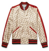Gucci Logo Print Satin Bomber Jacket Cream