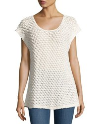 Bobeau Open Weave Cap Sleeve Sweater Beige