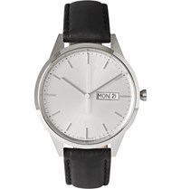 Uniform Wares C40 Stainless Steel And Leather Wristwatch Black