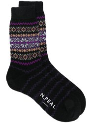 N.Peal Snowflake Fairisle Socks Black
