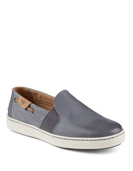 Sperry Harborview Leather Slip On Sneakers Grey