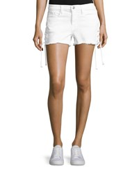 Frame Le Cutoff Lace Up Denim Shorts Blanc White