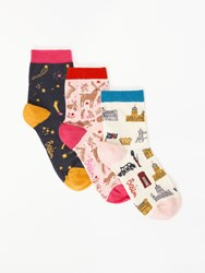 Boden Novelty Print Ankle Socks Pack Of 3 Multi Christmas