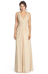 Women's Monique Lhuillier Bridesmaids V Neck Pleated Chiffon Gown Champagne