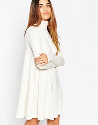 Asos Swing Dress With Polo Neck And Long Sleeves Cream