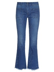 Stella Mccartney Star Distressed Cropped Kick Flare Jeans Blue