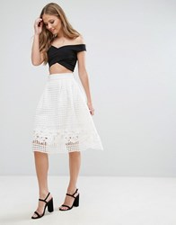 Forever Unique Skater Skirt With Mesh Overlay White