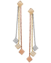 Macy's Tri Gold Textured Disc Linear Drop Earrings In 14K Gold White Gold And Rose Gold Tri Tone