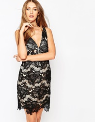Missguided Lace Bodycon Dress With Low Back Black