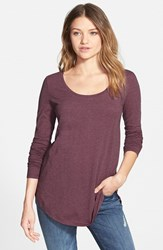 Junior Women's Bp. Scoop Neck Long Sleeve Tee Burgundy Stem