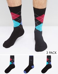Pringle Waverley 3 Pack Socks Black Multi
