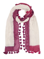 Jigsaw Painted Edge Pom Scarf Raspberry