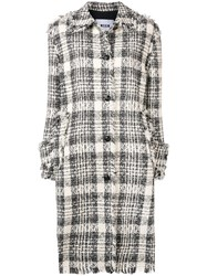 Msgm Checked Single Breasted Coat Black