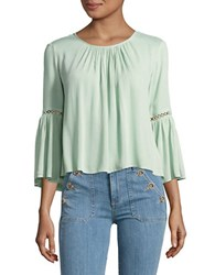 Highline Collective Cropped Bell Sleeved Peasant Top Green