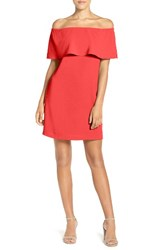 Charles Henry Women's Off The Shoulder Woven A Line Dress Coral