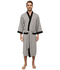 Jockey Waffle Kimono Heather Grey With Black Trim Men's Robe Gray