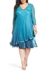 Komarov Plus Size Women's Tiered Ombre Charmeuse And Chiffon Dress