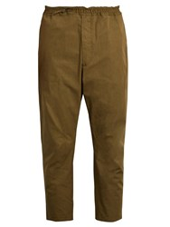 Oamc Cropped Cotton Trousers Khaki