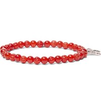 Isaia Silver Tone Beaded Bracelet Red