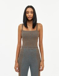 Eckhaus Latta Knit Pleated Tank Top In Oxidized Copper Size Extra Small