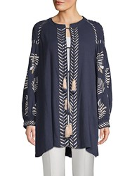Kas Riely Embroidered Cotton Tie Front Tunic Navy