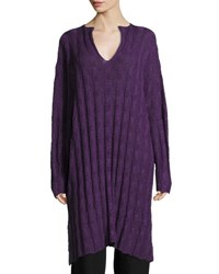 Eskandar Long Split Neck Sweater Purple