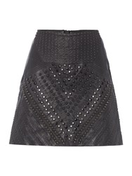 Label Lab Limited Edition Leather Studded Skirt Black