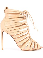 Francesco Russo Strappy Ankle Boots Nude Neutrals