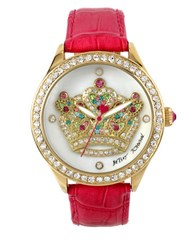 Betsey Johnson Goldtone Stainless Steel And Crocodile Embossed Leather Strap Watch Pink