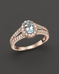 Bloomingdale's Aquamarine And Diamond Halo Ring In 14K Rose Gold Blue Pink