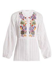 Etro Mira Floral Embroidered Blouse White