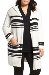 Vince Camuto Plus Size Women's Stripe Hooded Cardigan
