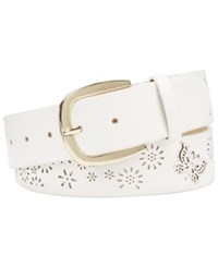 Inc International Concepts I.N.C. Perforated Flowers And Butterfly Belt Created For Macy's White Gold