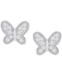 Swarovski Silver Tone Pave Butterfly Stud Earrings