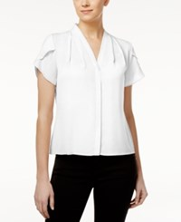 Calvin Klein Petite Flutter Sleeve Pleated Blouse White