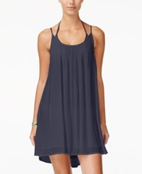 Roxy Juniors' Windy Fly Away Strappy Trapeze Sundress Dark Blue