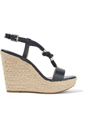 Michael Michael Kors Holly Rope Trimmed Leather Wedge Sandals Storm Blue