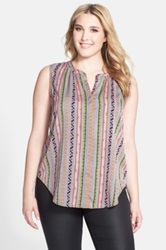 Jessica Simpson 'Carmela' Stripe Sleeveless Blouse Plus Size Multi