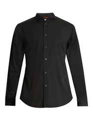 Barena Spread Collar Cotton Jacquard Shirt Black