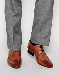 H By Hudson Leather Brogue Shoes Tan