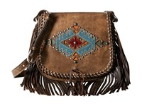 American West Pueblo Moon Fringe Flap Crossbody Distressed Charcoal Brown Cross Body Handbags