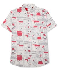 Jem Men's Snoopy Graphic Print Short Sleeve Shirt White