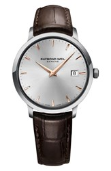Raymond Weil Toccata Leather Strap Watch 39Mm Brown Silver