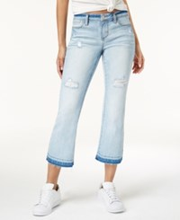 Dollhouse Juniors' Ripped Cropped Flare Jeans Snowy Blue