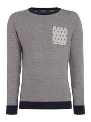 Scotch And Soda Men's Classic Crewneck Pullover With Pocket Navy Stripe