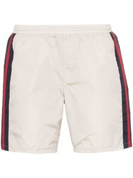 Gucci Monogram Stripe Swim Shorts Neutrals