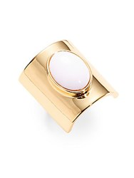 Trina Turk White Oval Stone Ring Gold
