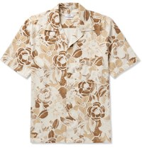 Cmmn Swdn Camp Collar Floral Print Slub Silk Shirt Cream